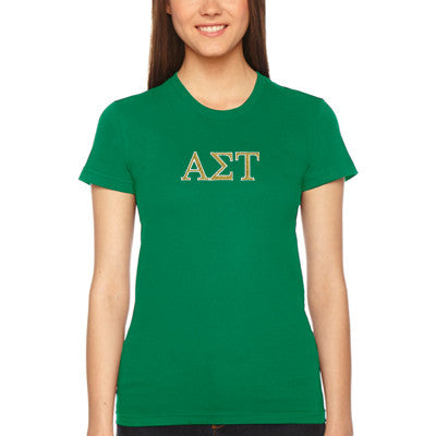 Alpha Sigma Tau Embroidered Jersey Tee - American Apparel 2102W - EMB