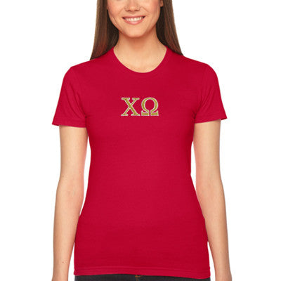 Chi Omega Embroidered Jersey Tee - American Apparel 2102 - EMB
