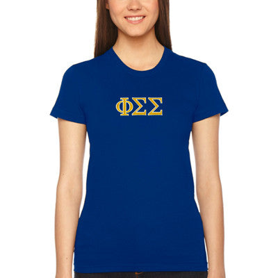 Phi Sigma Sigma Embroidered Jersey Tee - American Apparel 2102W - EMB