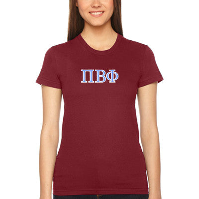 Pi Beta Phi Embroidered Jersey Tee - American Apparel 2102W - EMB