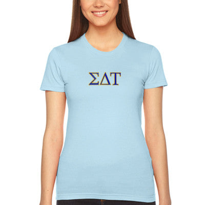 Sigma Delta Tau Embroidered Jersey Tee - American Apparel 2102W - EMB