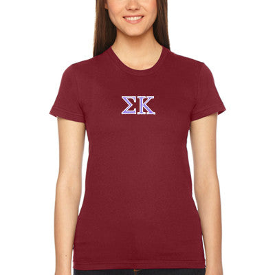 Sigma Kappa Embroidered Jersey Tee - American Apparel 2102W - EMB