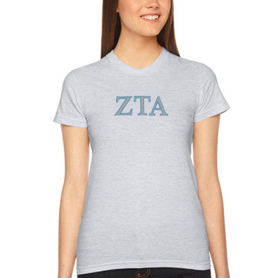 Zeta Tau Alpha Embroidered Jersey Tee - American Apparel 2102W - EMB