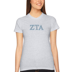 Zeta Tau Alpha Embroidered Jersey Tee - American Apparel 2102 - EMB