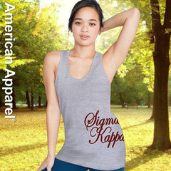 Sigma Kappa Sorority Printed Tank Top - American Apparel 2408 - CAD
