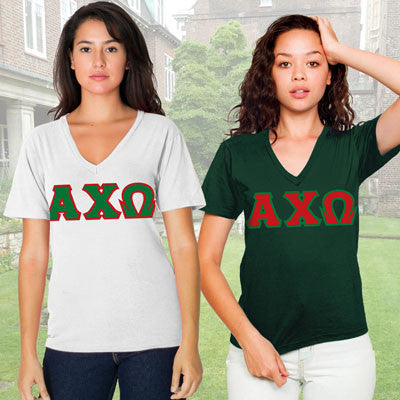 Alpha Chi Omega Horizontal V-Neck Package - American Apparel 2456W - TWILL