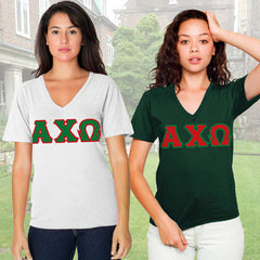 Alpha Chi Omega Horizontal V-Neck Package - American Apparel 2456 - TWILL