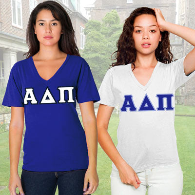Alpha Delta Pi Sorority V-Neck with Horizontal Twill Letters - American Apparel 2456W - TWILL