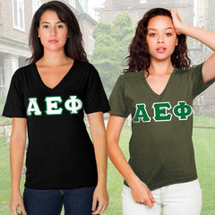 Alpha Epsilon Phi Horizontal V-Neck Package - American Apparel 2456W - TWILL