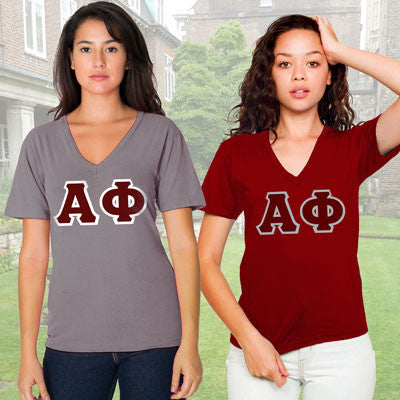 Alpha Phi Horizontal V-Neck Package - American Apparel 2456 - TWILL