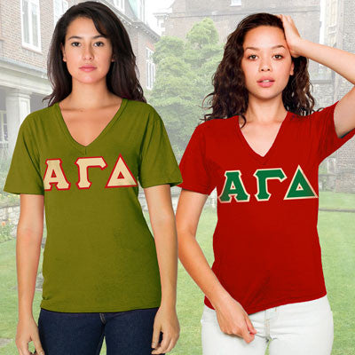 Alpha Gamma Delta Horizontal V-Neck Package - American Apparel 2456 - TWILL