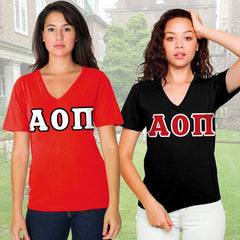 Alpha Omicron Pi Horizontal V-Neck Package - American Apparel 2456W - TWILL