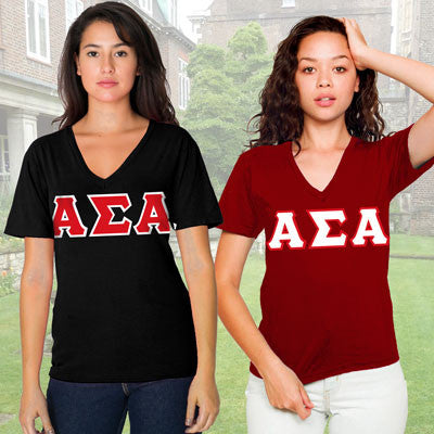 Alpha Sigma Alpha Horizontal V-Neck Package - American Apparel 2456 - TWILL