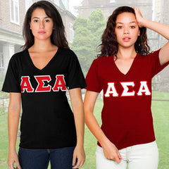 Alpha Sigma Alpha Horizontal V-Neck Package - American Apparel 2456W - TWILL