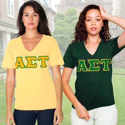Alpha Sigma Tau Horizontal V-Neck Package - American Apparel 2456W - TWILL