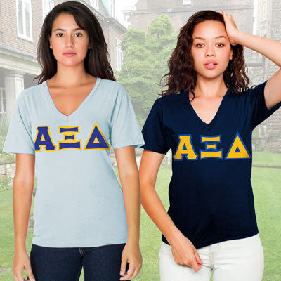 Alpha Xi Delta Horizontal V-Neck Package - American Apparel 2456W - TWILL