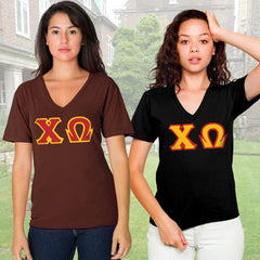 Chi Omega Horizontal V-Neck Package - American Apparel 2456 - TWILL