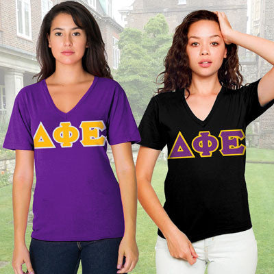 Delta Phi Epsilon Horizontal V-Neck Package - American Apparel 2456W - TWILL