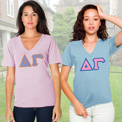 Delta Gamma Horizontal V-Neck Package - American Apparel 2456 - TWILL