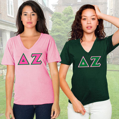 Delta Zeta Horizontal V-Neck Package - American Apparel 2456 - TWILL
