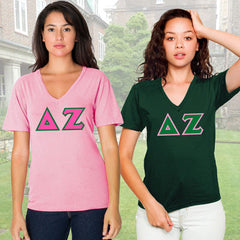 Delta Zeta Horizontal V-Neck Package - American Apparel 2456W - TWILL
