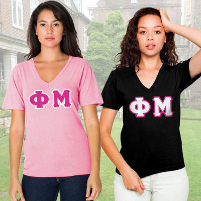 Phi Mu Horizontal V-Neck Package - American Apparel 2456 - TWILL