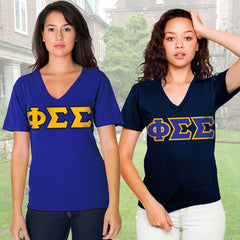 Phi Sigma Sigma Horizontal V-Neck Package - American Apparel 2456 - TWILL