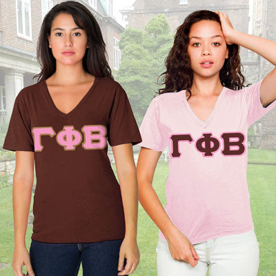 Gamma Phi Beta Horizontal V-Neck Package - American Apparel 2456 - TWILL