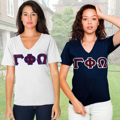 Gamma Phi Omega Horizontal V-Neck Package - American Apparel 2456W - TWILL