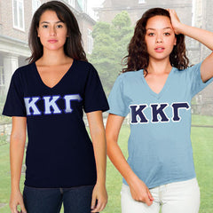Kappa Kappa Gamma Horizontal V-Neck Package - American Apparel 2456 - TWILL