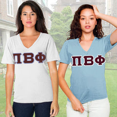 Pi Beta Phi Horizontal V-Neck Package  - American Apparel 2456 - TWILL