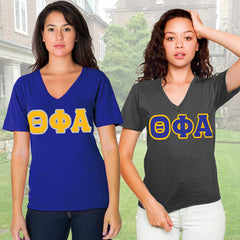 Theta Phi Alpha Horizontal V-Neck Package - American Apparel 2456W - TWILL
