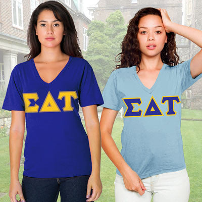 Sigma Delta Tau Horizontal V-Neck Package - American Apparel 2456 - TWILL