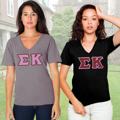 Sigma Kappa Horizontal V-Neck Package - American Apparel 2456W - TWILL
