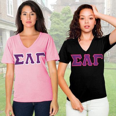 Sigma Lambda Gamma Horizontal V-Neck Package - American Apparel 2456W - TWILL
