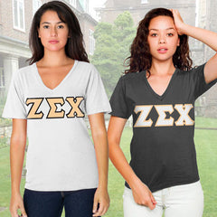 Zeta Sigma Chi Horizontal V-Neck Package - American Apparel 2456 - TWILL