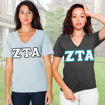 Zeta Tau Alpha Horizontal V-Neck Package - American Apparel 2456W - TWILL