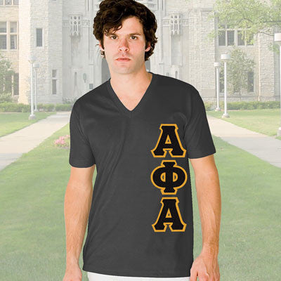 Alpha Phi Alpha V-Neck T-Shirt - Vertical - American Apparel 2456 - TWILL