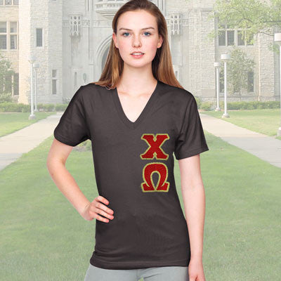 Chi Omega V-Neck - Vertical - American Apparel 2456 - TWILL