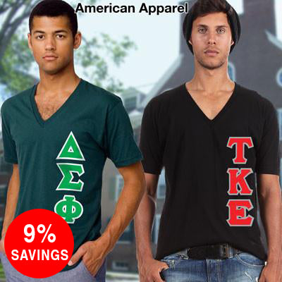 Fraternity Vertical V-Neck Tee Package - American Apparel 2456W - TWILL