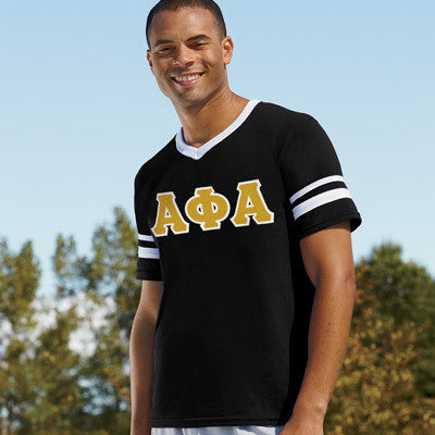 Alpha Phi Alpha Striped Tee with Twill Letters - Augusta 360 - TWILL