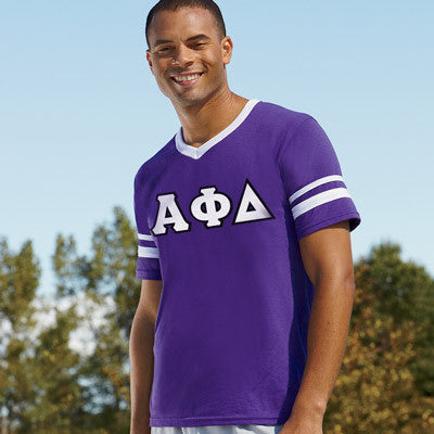 Alpha Phi Delta Striped Tee with Twill Letters - Augusta 360 - TWILL