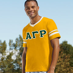 Alpha Gamma Rho Striped Tee with Twill Letters - Augusta 360 - TWILL