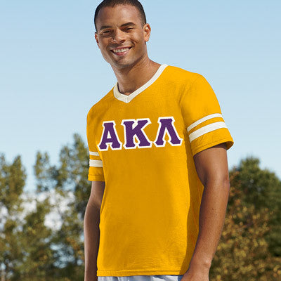 Alpha Kappa Lambda Striped Tee with Twill Letters - Augusta 360 - TWILL