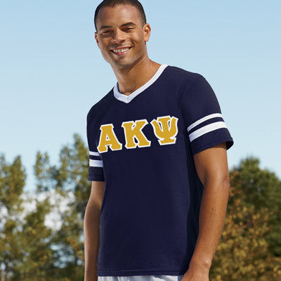 Alpha Kappa Psi Striped Tee with Twill Letters - Augusta 360 - TWILL