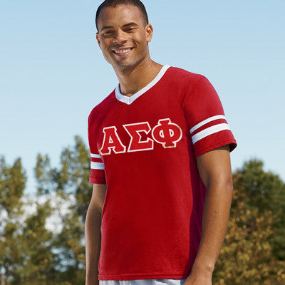 Alpha Sigma Phi Striped Tee with Twill Letters - Augusta 360 - TWILL