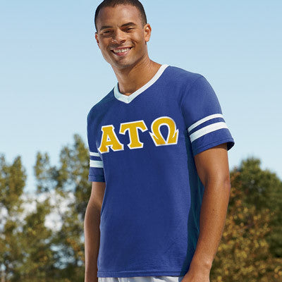 Alpha Tau Omega Striped Tee with Twill Letters - Augusta 360 - TWILL