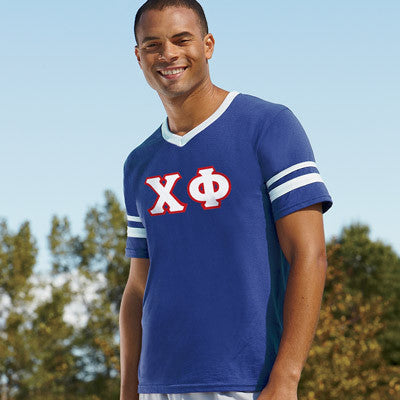 Chi Phi Striped Tee with Twill Letters - Augusta 360 - TWILL