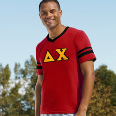 Delta Chi Striped Tee with Twill Letters - Augusta 360 - TWILL