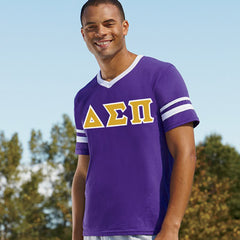 Delta Sigma Pi Striped Tee with Twill Letters - Augusta 360 - TWILL